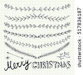 hand drawn christmas decorative ... | Shutterstock .eps vector #517836187