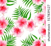 tropical pattern with... | Shutterstock . vector #517839127
