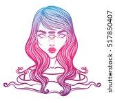 portrait of mystic girl with... | Shutterstock .eps vector #517850407