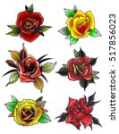 neo traditional tattoo roses... | Shutterstock .eps vector #517856023