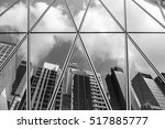 mirrored office buildings ... | Shutterstock . vector #517885777