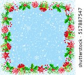 christmas background with border | Shutterstock .eps vector #517887547