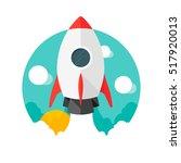 rocket. vector icon. dawn.... | Shutterstock .eps vector #517920013