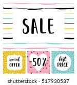 set of sale cards vector... | Shutterstock .eps vector #517930537