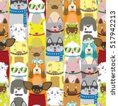 Colored Cute Dogs. Pattern