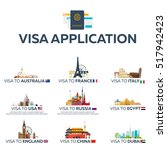 big set visa to the country.... | Shutterstock .eps vector #517942423