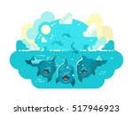 happy dolphins swim and jump | Shutterstock .eps vector #517946923