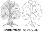 set of doodle coloring book for ... | Shutterstock .eps vector #517972687