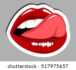 female mouth with tongue licked ... | Shutterstock .eps vector #517975657