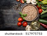 brown rice  spices  and... | Shutterstock . vector #517975753