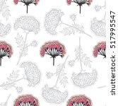 pink flowers line art pattern | Shutterstock .eps vector #517995547