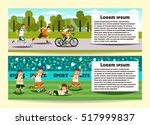 set of horizontal banners on... | Shutterstock .eps vector #517999837