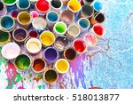 old paint cans and colors... | Shutterstock . vector #518013877
