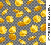 3d gold coins falling on... | Shutterstock .eps vector #518035873