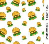 hamburger pattern.hamburger a... | Shutterstock .eps vector #518044153