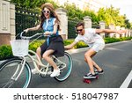 young couple of cute teenagers  ... | Shutterstock . vector #518047987