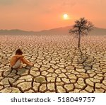 child sit on cracked earth in... | Shutterstock . vector #518049757