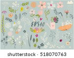 Stock vector set with cute floral elements 518070763
