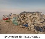 Small photo of Chl?opy, Poland - July 29, 2016: Fish Nets and boxes in a fishing port