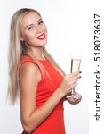 happy young woman in a red... | Shutterstock . vector #518073637
