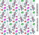christmas background. snowmen... | Shutterstock .eps vector #518080003