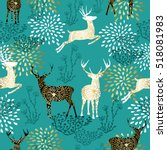 christmas seamless pattern with ... | Shutterstock . vector #518081983