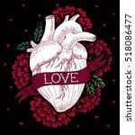 human heart engraving...   Shutterstock .eps vector #518086477