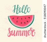 vector print with watermelon... | Shutterstock . vector #518090047