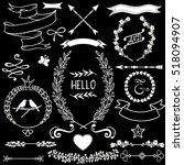 vector floral doodle design... | Shutterstock .eps vector #518094907