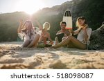 happy friends enjoying vacation ... | Shutterstock . vector #518098087