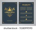 christmas greeting card design. ... | Shutterstock .eps vector #518099593