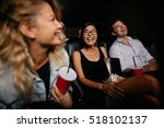 young woman with friends... | Shutterstock . vector #518102137