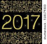 vector diamond numbers 2017 ... | Shutterstock .eps vector #518179303