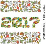 vector flower numbers 2017  and ... | Shutterstock .eps vector #518179363