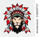 lion with war bonnet. | Shutterstock .eps vector #518209717
