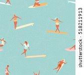 Girl Surfer In Bikini Seamless...