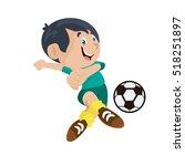 boy playing football...   Shutterstock .eps vector #518251897
