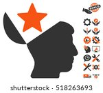 open head star pictograph with... | Shutterstock .eps vector #518263693