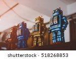 old classic tin toy robots | Shutterstock . vector #518268853