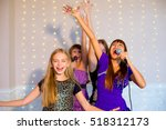 group of happy girls with... | Shutterstock . vector #518312173