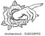 female hand pointing on... | Shutterstock .eps vector #518318953