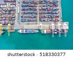 container ship in import export ...   Shutterstock . vector #518330377
