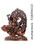 Small photo of The defender of Buddhist doctrine, Vadzhrasadkhu, astride a snow lion, holds in hand to a dorje.