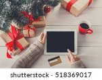 christmas online shopping above ... | Shutterstock . vector #518369017