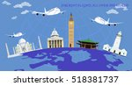 flight around the world... | Shutterstock .eps vector #518381737