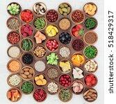 large health food sampler in... | Shutterstock . vector #518429317