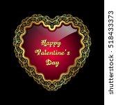 heart shaped golden frame with... | Shutterstock .eps vector #518433373
