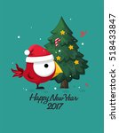 greeting christmas card. funny... | Shutterstock .eps vector #518433847