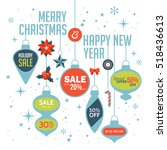 christmas sale banner design... | Shutterstock .eps vector #518436613
