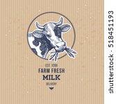 farm cow vintage logo. cow... | Shutterstock .eps vector #518451193